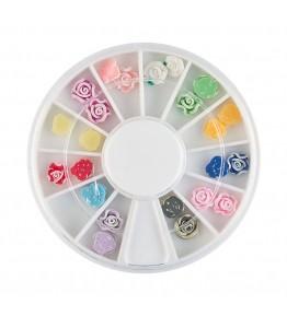 Carusel cu floricele 3D, plasticate, diverse culori, art. nr.: 761518