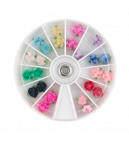 Carusel cu floricele 3D, plasticate FIMO, mari, diverse culori, art. nr.: 761545