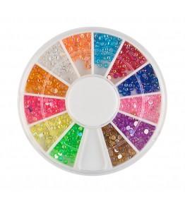 Carusel cu perlute plastic, diverse culori, 2 mm, art. nr.: 761549