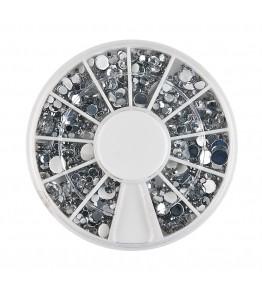 Carusel cu pietricele rotunde argintii, acrilice, diverse marimi, art. nr.: 761567