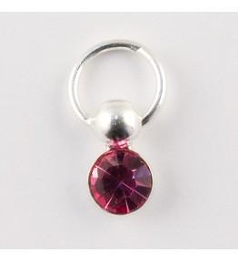 Nail Piercing, rotund cu cristal roz, art. nr.: 76834