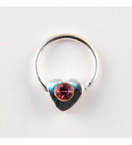 Nail Piercing, inimioara cu cristal roz, art. nr.: 76832