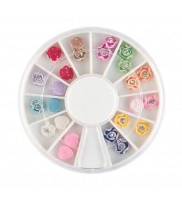 Carusel cu floricele 3D, plasticate, cu pietricica argintie, diverse culori, art. nr.: 761503