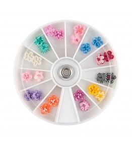 Carusel cu floricele 3D, plasticate FIMO, diverse culori, art. nr.: 761523