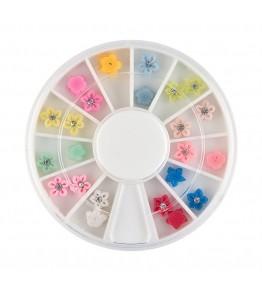 Carusel cu floricele 3D, plasticate FIMO, cu pietricica argintie, diverse culori, art. nr.: 761544