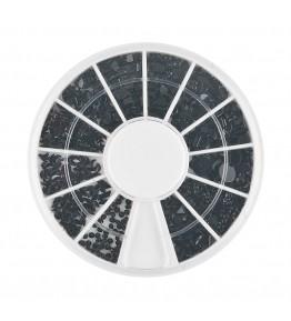 Carusel cu pietricele acrilice, mix diverse forme, negre, art. nr.: 761574
