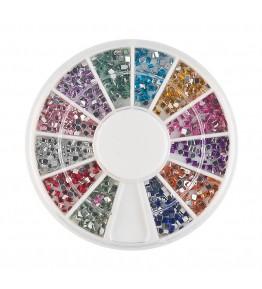 Carusel cu pietricele patrate, acrilice, 1.5 mm, diverse culori, art. nr.: 761565