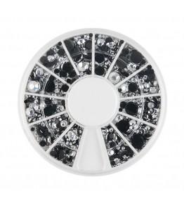 Carusel cu pietricele rotunde argintii cu spate negru, acrilice, diverse marimi, art. nr.: 761568