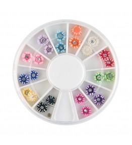 Carusel cu floricele 3D, diverse culori, decorate cu pietricele, art. nr.: 761507