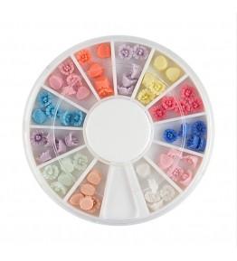Carusel cu floricele 3D, ceramic, diverse culori, art. nr.: 761521