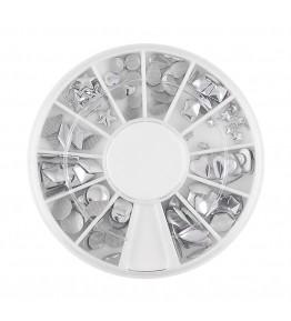Carusel cu tinte metalice, diverse forme, argintii, art. nr.: 761602