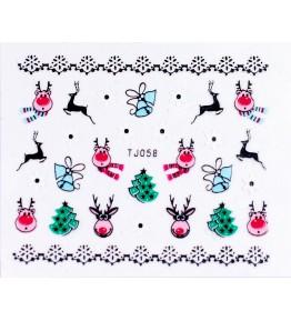 Silver Nail Sticker 3D Craciun TJ058S