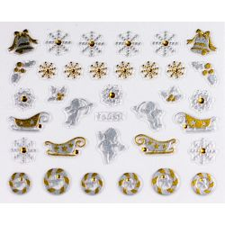 Gold/Silver Nail Sticker 3D Craciun YJ050