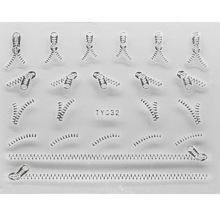 NailSticker Fermoar Silver 3D