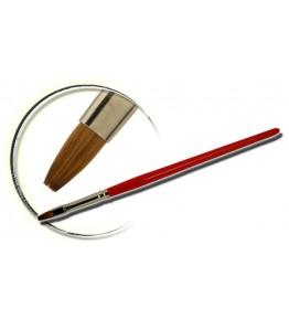 Pensula maner lemn, vopsit rosu, plata, marimea 4, art. nr.: 40011