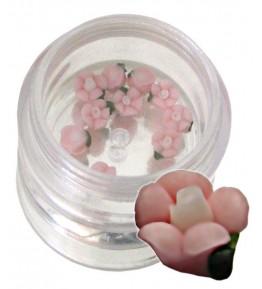 Flori roz cu alb din material ceramic pentru NailArt – 5 mm-08