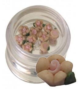 Flori crem-2 din material ceramic pentru NailArt – 5 mm - 10