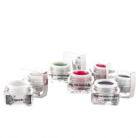 Set Geluri UV Neon Purple Pink Green si french gel Bianco