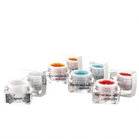 Set Geluri UV Neon Glitter Red Blur Orange si french gel Bianco