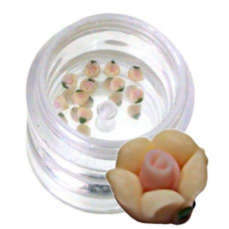 Flori crem-2 din material ceramic pentru NailArt – 3 mm - 10
