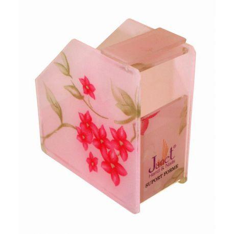 Dispenser pentru rola de forme, roz cu modele florale, art. nr.: 300099