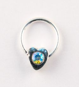 Nail Piercing, inimioara cu cristal AB, art. nr.: 76835
