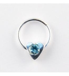 Nail Piercing, inimioara cu cristal albastru, art. nr.: 76830